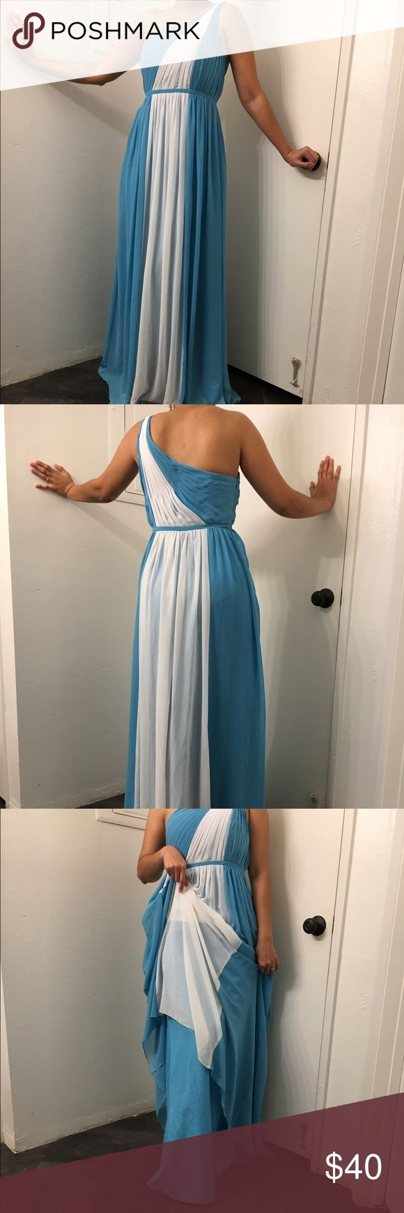 """Lights blue and white evening gown Light blue and white evening gown. Features one shoulder and draped skirt part of the dress. The top is rescued or pleated. Has a white accent in throughout the middle made of a chiffon material. Length approximately 58-60"""". Fits a size 34B/C comfortably in the chest area size 6. Perfect evening dress for special occasions such  as weddings, prom, date, ect Bari Jay Dresses One Shoulder"""