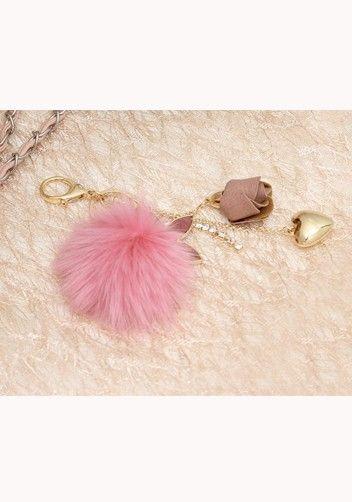 Plush Ball Rose Heart Bag Charm Key Ring Pink