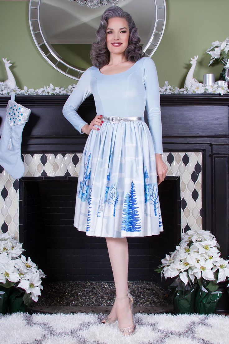 Pinup Couture Genevieve Dress in Ice Castle Print | Retro Style Dress | Pinup Girl Clothing