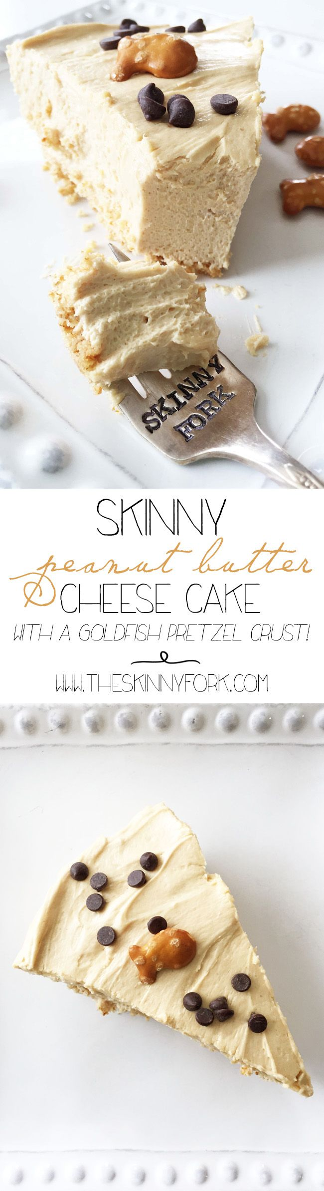 Skinny Peanut Butter Cheesecake - A lighter peanut butter cheesecake with a pretzel crust! ??
