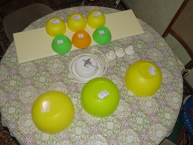 Самодельная бюджетная люстра на кухню из салатниц