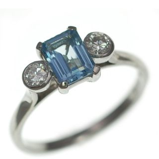 Imogen octagon Aqua and Diamond trilogy ring image 1
