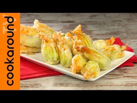 Fiori di zucca fritti in pastella con alici e ricotta - YouTube