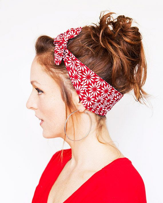 Dolly Bow White Flowers Red Tie on Headband by MinitaStudio