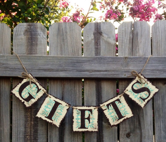Gifts Banner Ivory, Brown and Seafoam Green: Gift Table, Wedding, Reception, Decoration, Gift Garland (can customize colors). $18.00, via Etsy.