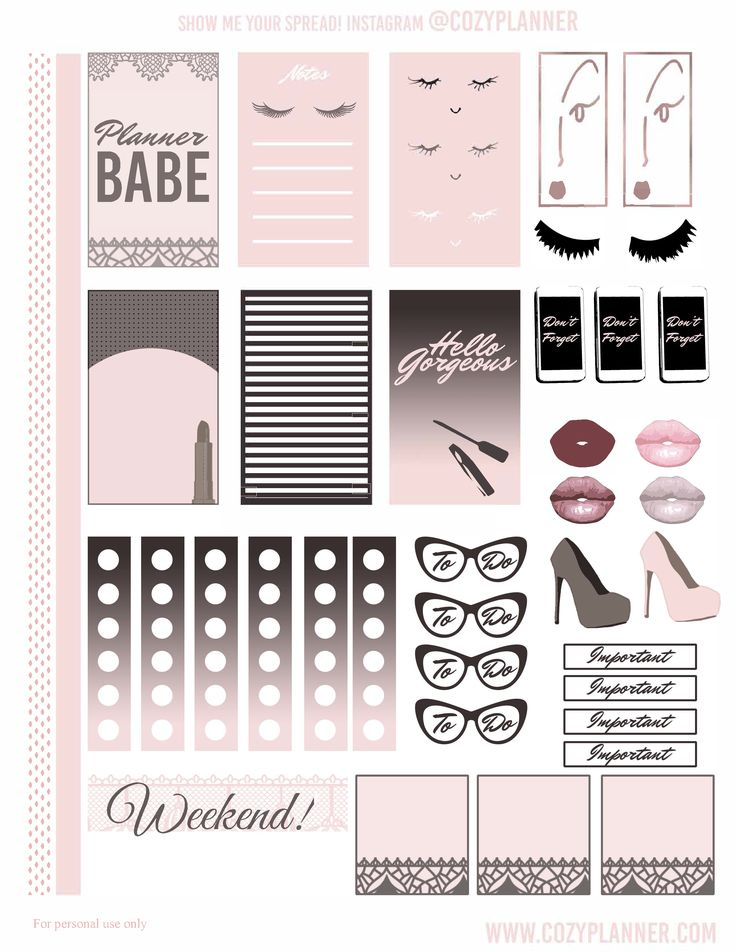 Cute pink glam planner stickers! They're free and work for the Happy Planner classic or Erin Condren/Recollections with a little scissor magic :)