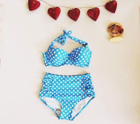High Waisted Bikini Sky Blue and white Polka Dots. Padded Bra Bikini top. Cute Sexy Swimwear Retro Swimming Costume Look Hot
