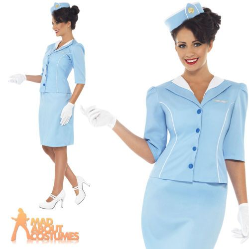Adult ladies blue air hostess cabin crew #stewardess #fancy dress #costume new,  View more on the LINK: http://www.zeppy.io/product/gb/2/151803376721/