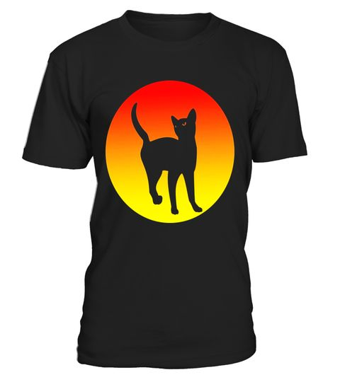 Lucky Black Cat Sunrise Stretch Cat Lover T Shirt - Limited Edition