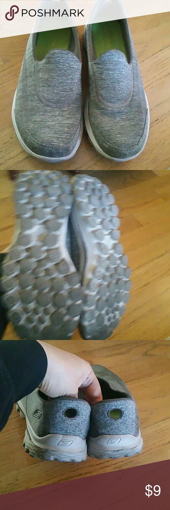 Sketcher sneakers, so comfy!!! Super cute slip on grey sneakers! sketchers Shoes Sneakers