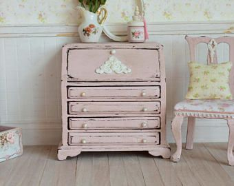 Dollhouse Miniature, Pink Bureau, Dolls House Desk, Office Furniture, Ornate Detail, Antique Finish, Shabby Cottage Chic, 1:12th Scale