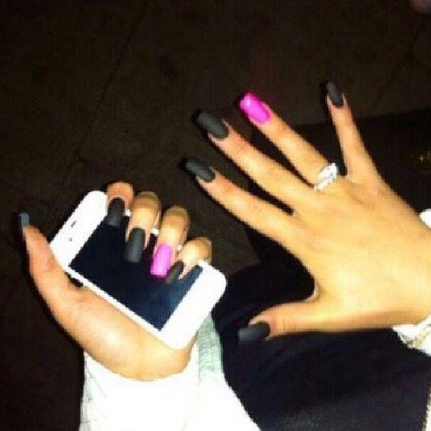 pink nails black matte polish nails pinterest pink