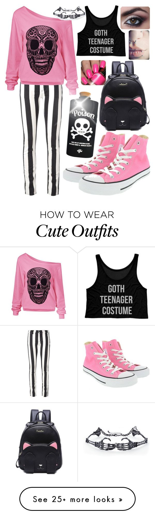 """Pastel goth #9"" by kitty-lau-elisa on Polyvore featuring Off-White, Valfré and Converse"