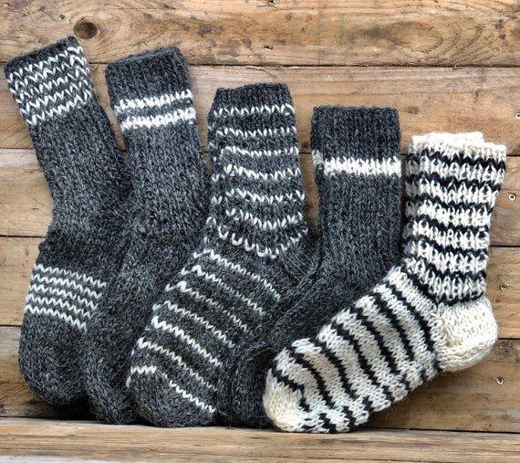 SHEEP WOOL MEN SOCKS HAND KNITTED GRAY MEN SOCKS Hand Made 100/% natural wool