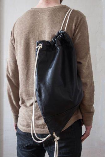 Leder-Turnbeutel-Black-Leder-Sportbeutel-Rucksack-Tasche