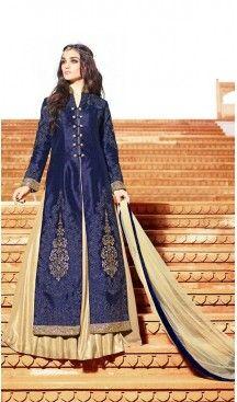 Navy Blue Silk Pakistani Salwar Kameez Collection For Eid | FH435669065…