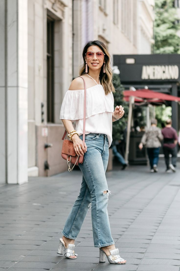 CHIC AT EVERY AGE // Statement Top http://styleofsam.com/2017/06/02/chic-every-age-statement-top/ how to wear a ruffle off the shoulder top, GNO look, gucci marmont slides, chloe faye bag