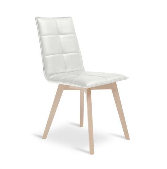 Sedia in legno con sedile e schienale in ecopelle