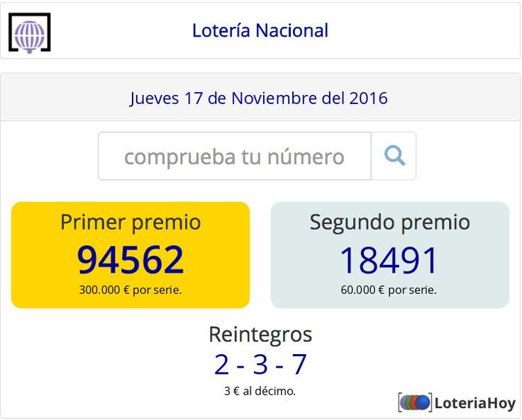Resultados y comprobación de tu #décimo para el sorteo de #LoteríaNacional del #Jueves 17 de #Noviembre de 2016 #Lotería