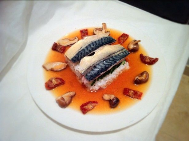 Poached mackerel in a japanese umami broth fine dining for Fine dining at home recipes