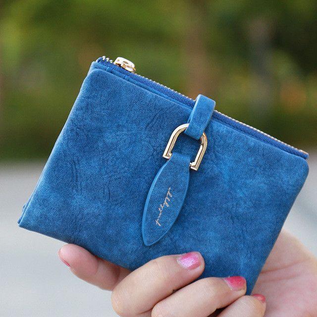 Prettyzys Lady Snap Fastener Short Clutch Wallet Vintage Matte Women Wallet Fashion Small Female Purse short Coin Card Holder