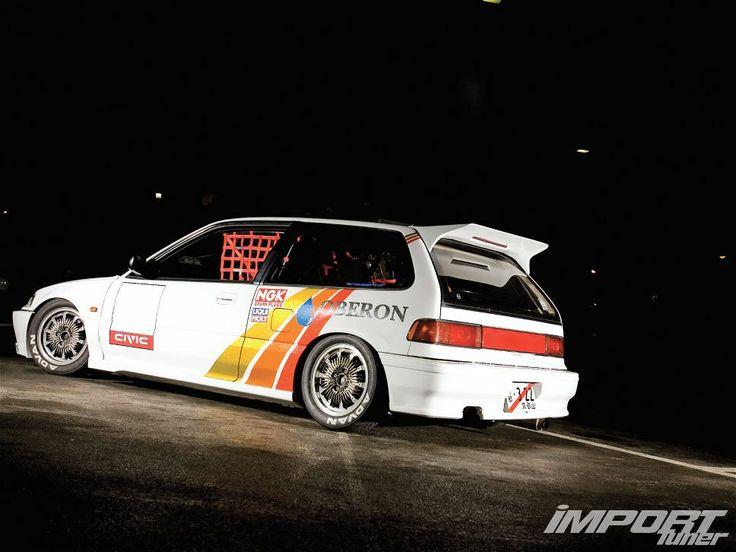 Kei Miura's Late Riser Ef9 Honda Civic on Mugen CF-48 wheels, 6666 kitted