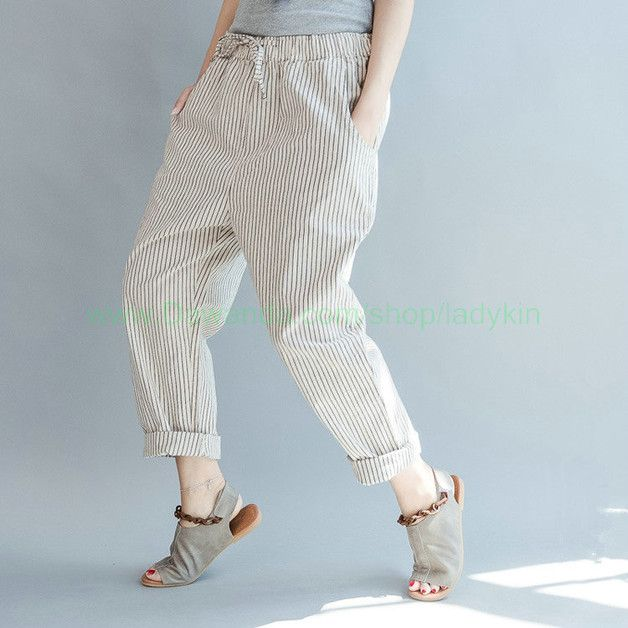 Businesshosen - Frühling Gestreifte Lange Hosen - ein Designerstück von shmilyyaolifestyle bei DaWanda