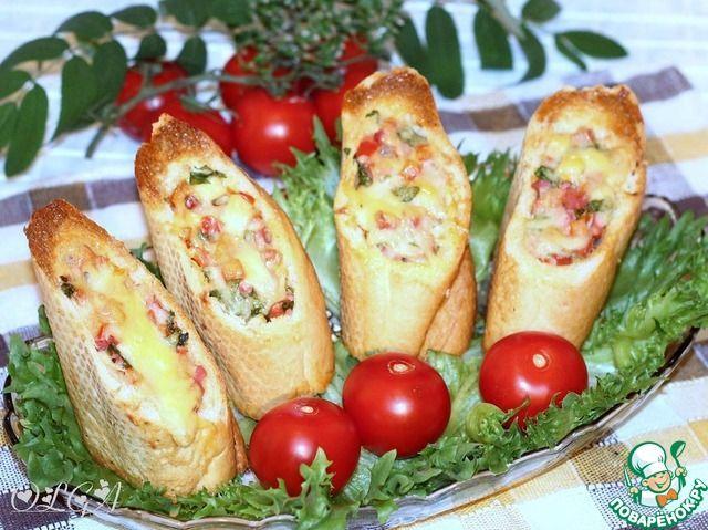 Хлебные стаканчики из багета с колбасой, брынзой, перцем, сыром