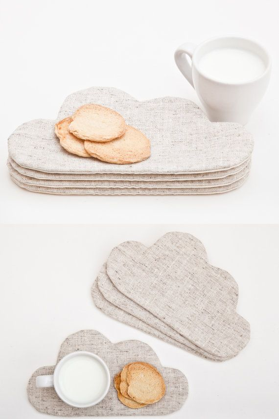 White Coaster for cups Cloud Drink Coaster Home Decor di JuliaWine
