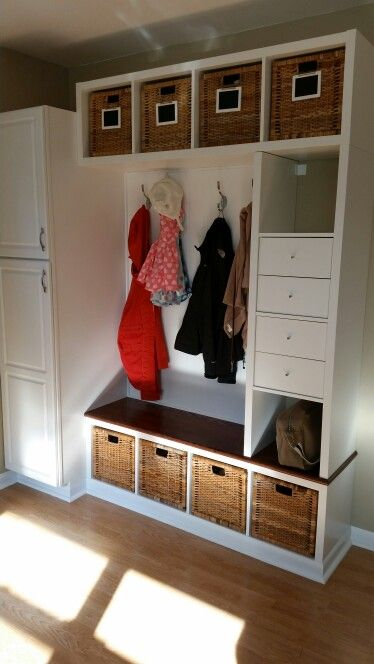 Ikea hack mudroom bench. 3 kallax shelving units a…