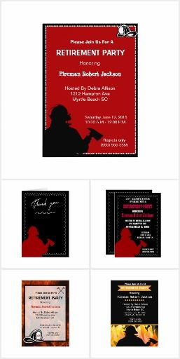 Fire Chief/ Fireman Retirement party invitations. Features a firefighter silhouette in uniform and fore chief hat with a choice of background colors. #Ad