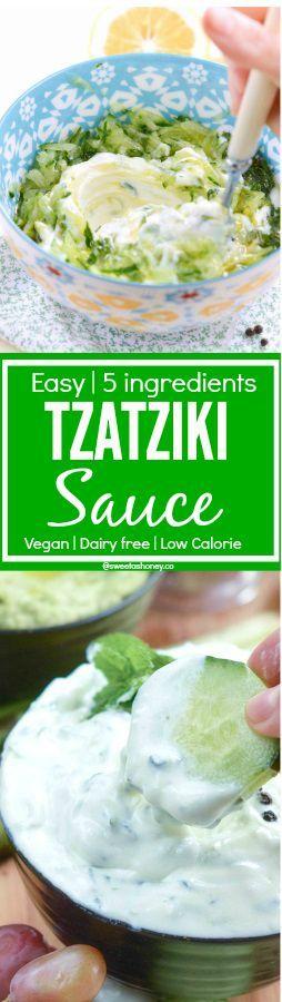 Vegan Tzatziki Sauce or Yogurt Cucumber Sauce  Easy 5 ingredients   Skinny Dip   Low Calories   Allergy friendly: Soy free, dairy free , gluten free, paleo