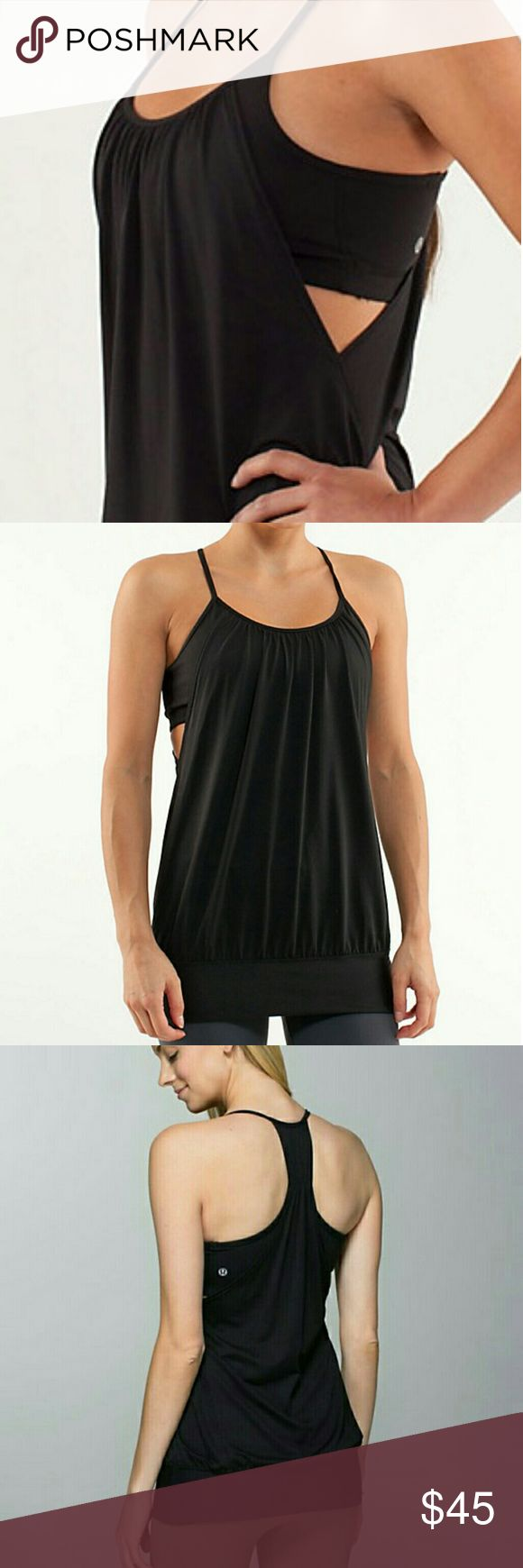 Lululemon No Limits Black Workout Tank Top Size 4 Built in bra with mesh racer back top. Bra pads are missing,  but otherwise excellent condition.  Mesh panels placed in your high-sweat zones help you stay cool and dry breathable Circle Mesh fabric is moisture-wicking the wide band around the hips keeps the tank in place flat-seamed for comfort in your tender underarm areas lululemon athletica Tops Tank Tops