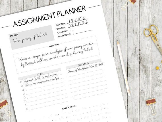 Assignment Planner Student Planner Homework by PaperScribblesCo
