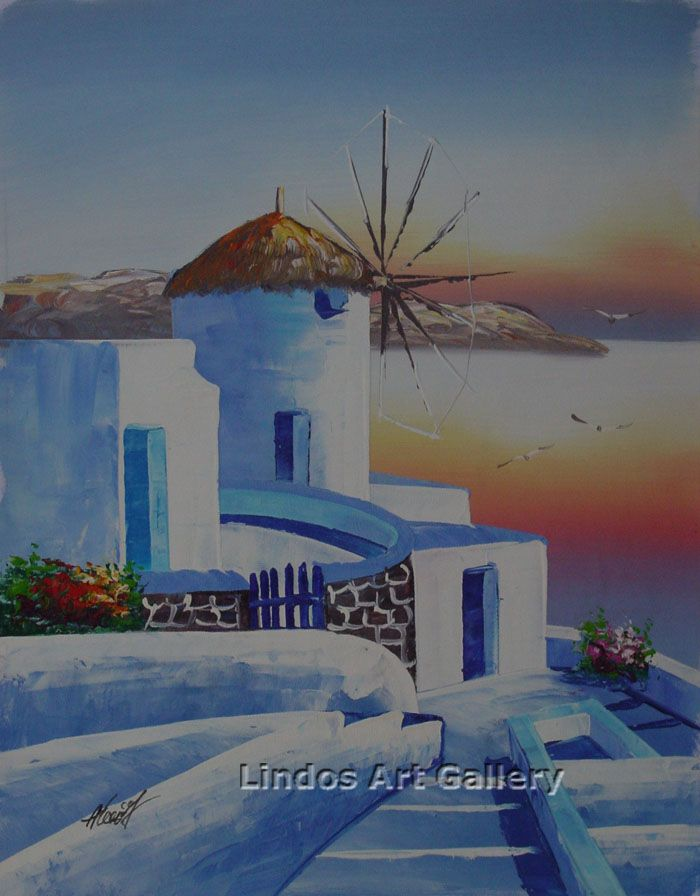 Windmill with Sunset on the Sea Painting