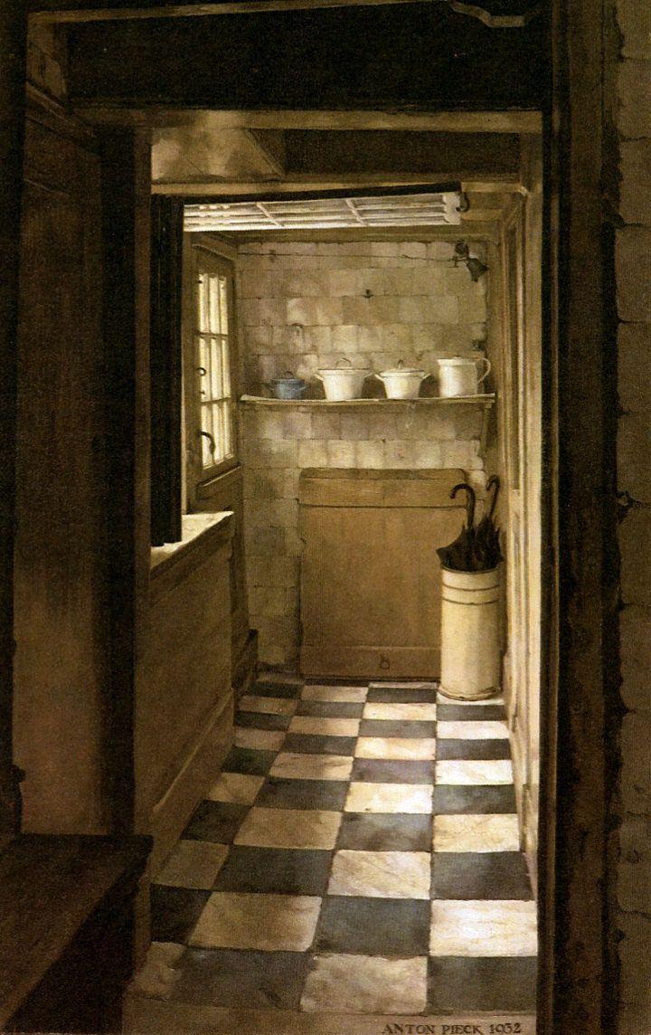 Intérieur,1932, par Anton Pieck (1895-1987) peintre néerlandais ==> https://fr.wikipedia.org/wiki/Anton_Pieck