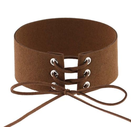 SUEDE THICK LACEUP CHOKER $5,90