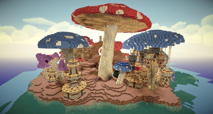 Amazing Minecraft mushroom kingdom! - Lots of work put into it!