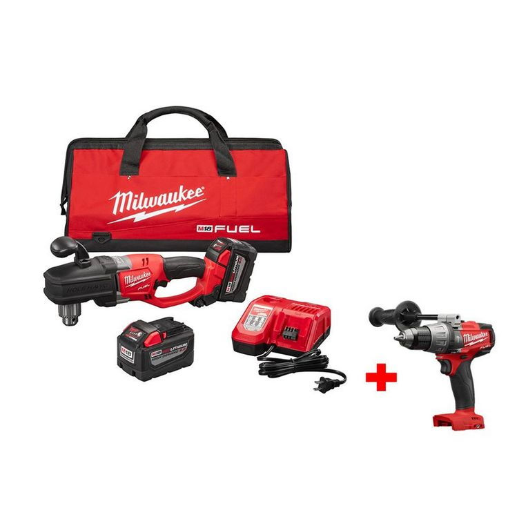 Milwaukee M18 Fuel 18-Volt Lithium-Ion Brushless Hole Hawg 1/2 in. Right Angle Drill 9.0Ah Kit with Free M18 1/2 in. Hammer Drill