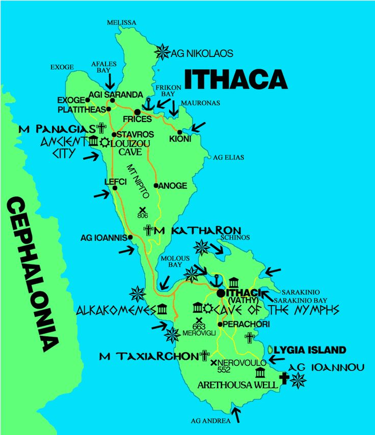 "Penelope lives in Ithaca, Greece. This is a map of Ithaca.""Ithaca being most lofty in the coastal sea, and north west, while the rest lie east and south."" (fitzgerald,146)"