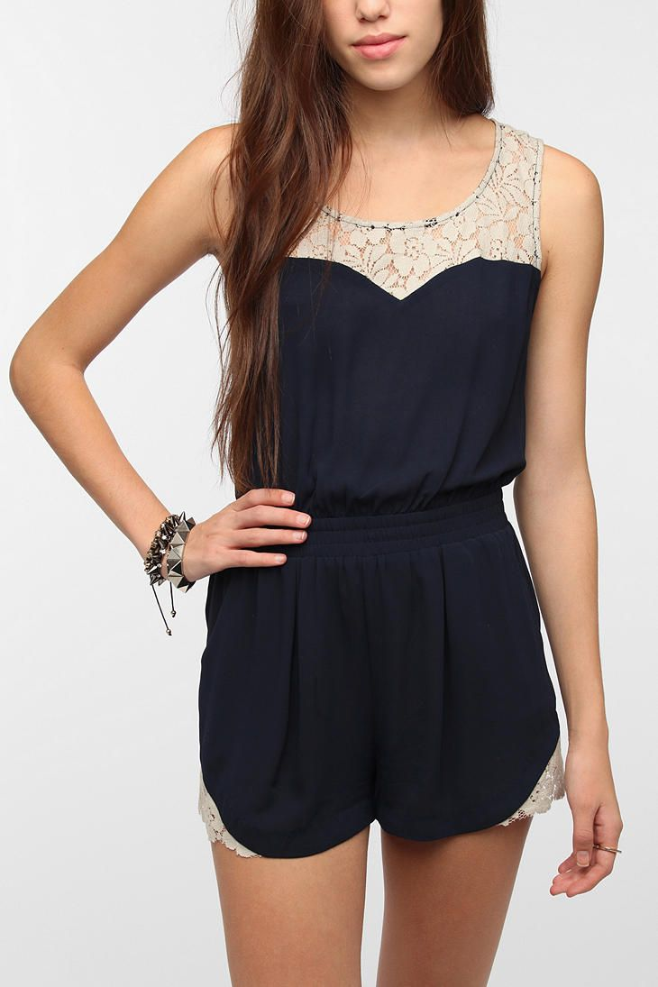 Pins And Needles Crepe Lace Inset Romper - $69 in Navy // I've never liked rompers, but this one is adorable.