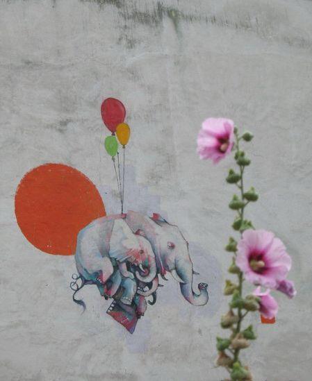 Hollyhock & Elephants in Paris ~ (Full mural in a pin nearby)
