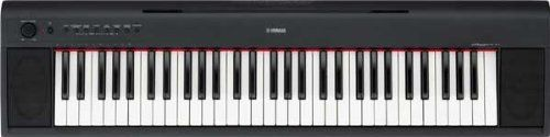 Yamaha Piaggero NP11 61-Key Lightweight Compact Portable Keyboard by Yamaha. $159.99. The Yamaha Piaggero NP-11 gives you classic Yamaha piano tone and 61 full-sized keys in an ultra-portable package, weighing in at just 10 pounds. Operating on just 6 AA batteries, you don't even need a power outlet to play your piano anywhere your music takes you. Yamaha has added an easy-to-use panel design with dedicated Voice-select buttons. A built-in metronome with adjustable tem...
