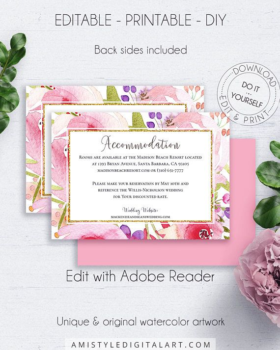 Floral Insert Accommodation Card, with fascinating and elegant watercolor rose wreath paintings, in bohemian and whimsical wedding style.This marvelous wedding accommodation insert card template is an instant download EDITABLE PDF pack so you can download it right away, DIY edit and print it at home or at your local copy shop by Amistyle Digital Art on Etsy