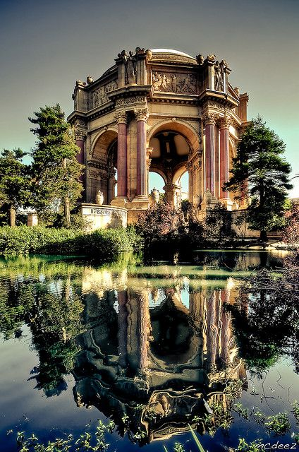 The Palace of Fine Arts in the Marina District of San Francisco, California is a building originally constructed for the 1915 Panama-Pacific Exposition. Designed by Bernard Maybeck. Photo by McDeez via Flickr