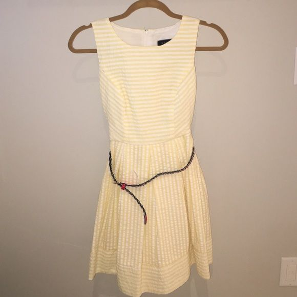 Striped Formal Dress White and yellow striped dress with detachable red belt and zipper in the back that goes a little bit past the waistline, great condition and has only been worn once. B. Darlin Dresses Midi