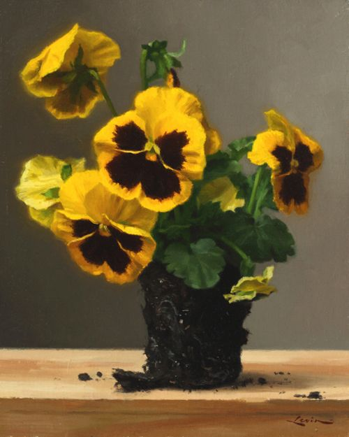 © Steven J. Levin, Yellow Pansies, oil painting of flowers