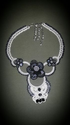 White and black crochet woman's necklace