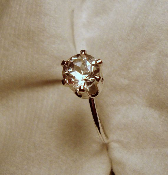 White Topaz Ring 1 carat in  ecofriendly sterling by ApacheMoon, $44.99