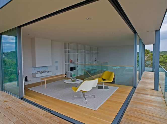 Sliding doors in a corner configuration offer unparalleled access outside.